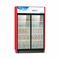 Commercial Double Glass Door Bar Beverage Cooler