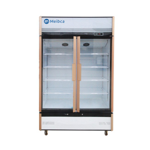 Hot Sell Fan Cooling 2 Door Upright Showcase With LED Light