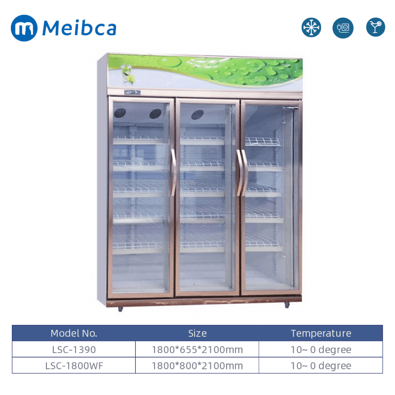 Tempered Glass Door Beverage Display Upright Showcase