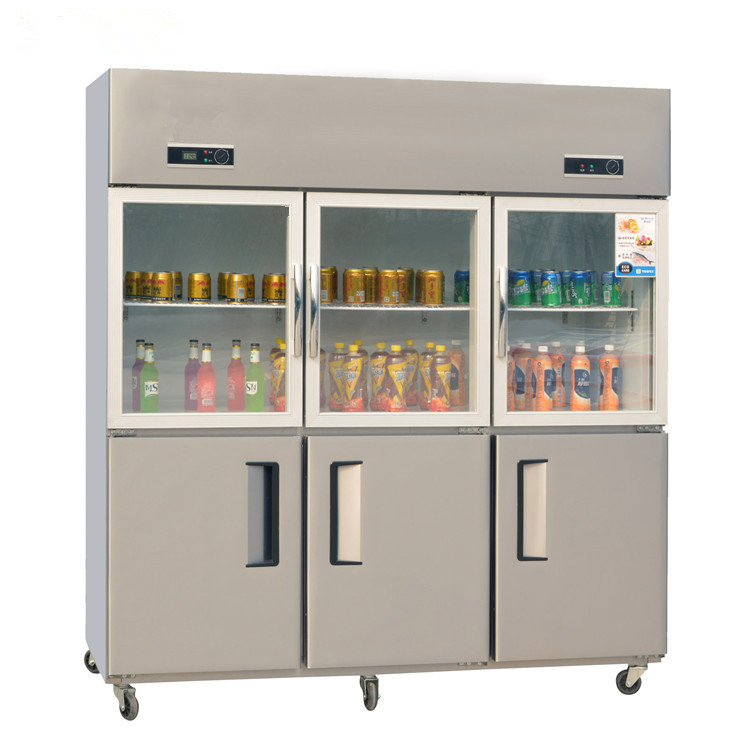 6 Doors Vertical Upright Commercial Freezer With Big Capacity R134 Refrigerant