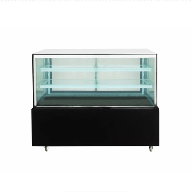 Square Glass Two Layers Marble Base Cake Display Refrigerator